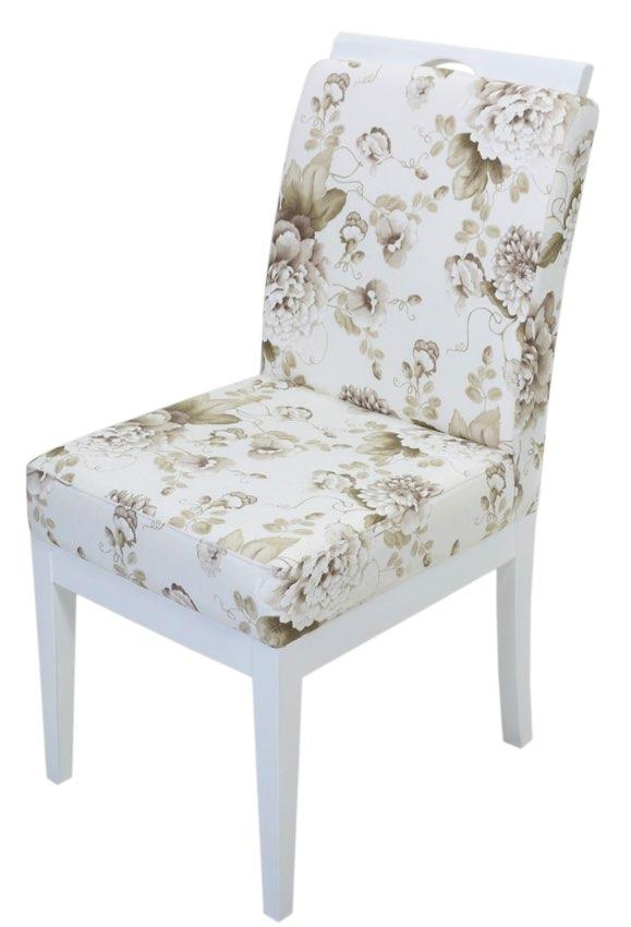 cadeira branca flores café