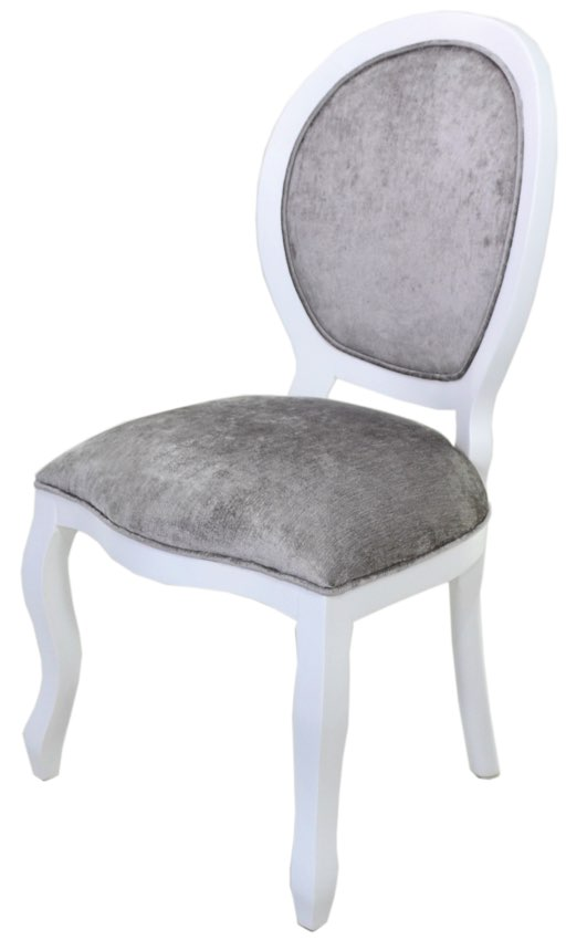 cadeira medalhão lisa branca e cinza