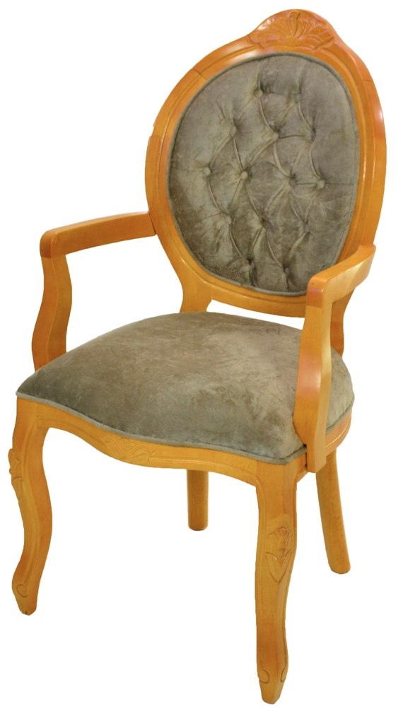 cadeira medalhão entalhada mel com veludo amassado verde