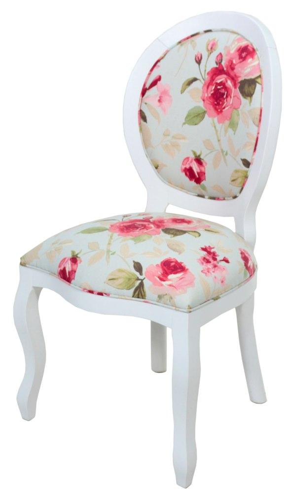 cadeira medalhão lisa branca com floral azul