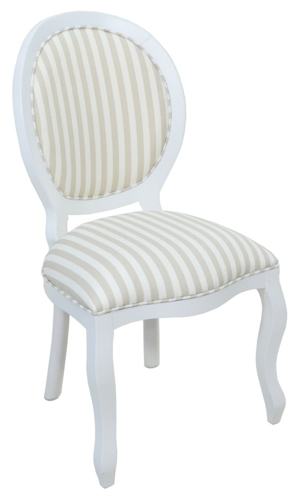 cadeira medalhão lisa branca com cinza claro