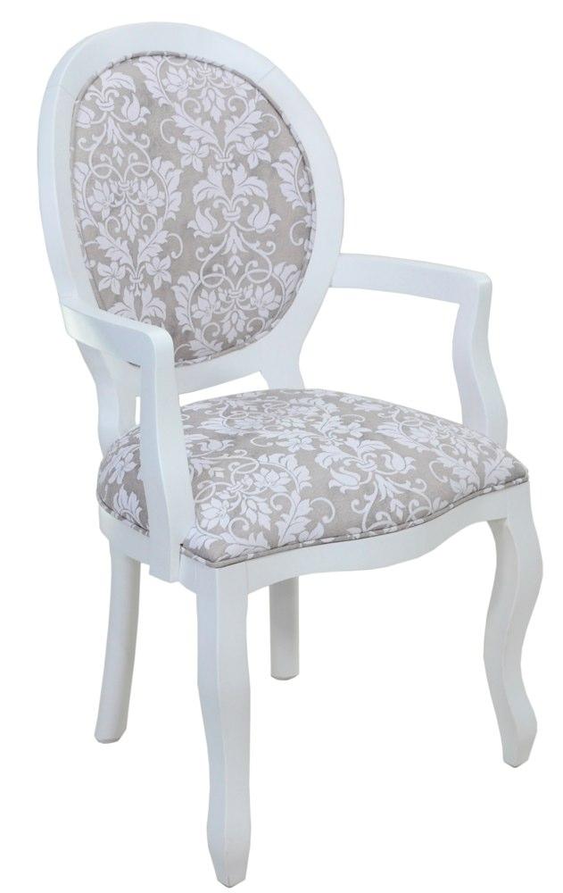 cadeira medalhão lisa com braço branca e floral cinza