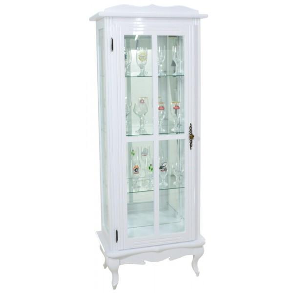 cristaleira colorida branca com fundo em espelho