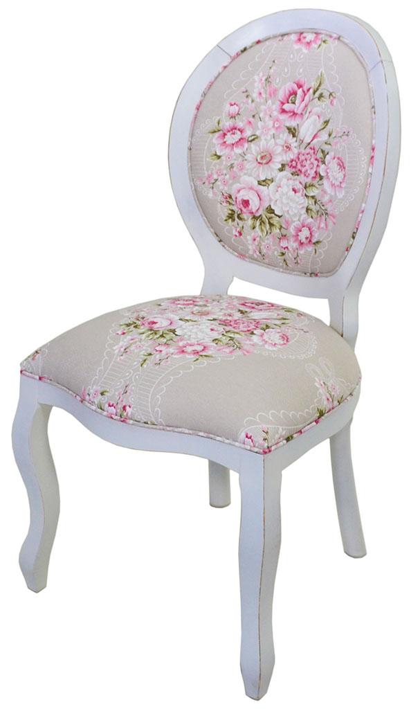 cadeira medalhão lisa provençal branca e floral rosa